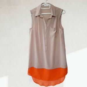 Lush collared semi sheer sleeveless dress